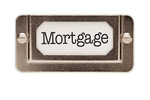 Mortgage File Drawer Label Isolated on a White Background.
